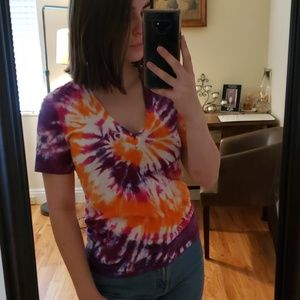 American Apparel Tie Dye V Neck T Shirt